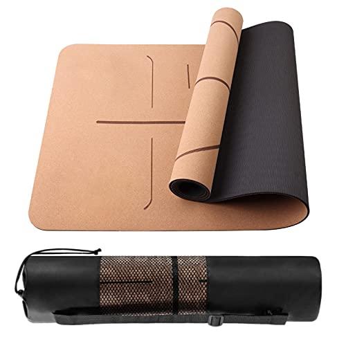 Tocawe Yogamatte-Aus Naturkork und Umwelt-TPE, Yoga rutschfeste Matte für Gymnastik/Fitness/Pilates mit Schwarzer Netztasche (183 * 61 * 0.5cm)