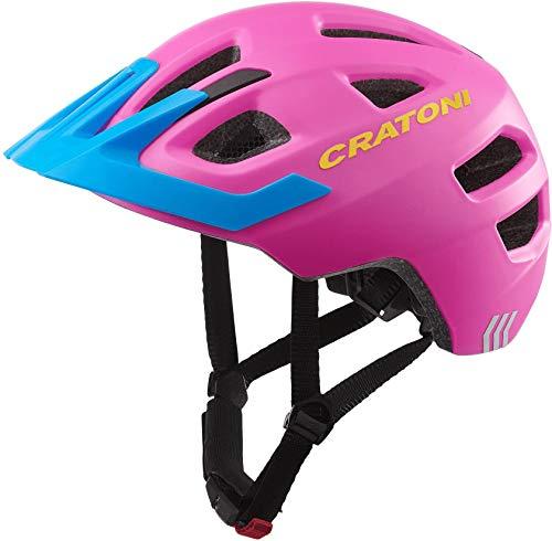 Cratoni Kinderhelm Maxster Pro Fahrradhelm Kinderhelm Jugendhelm mit Rücklicht, Pink Blue, XS/S
