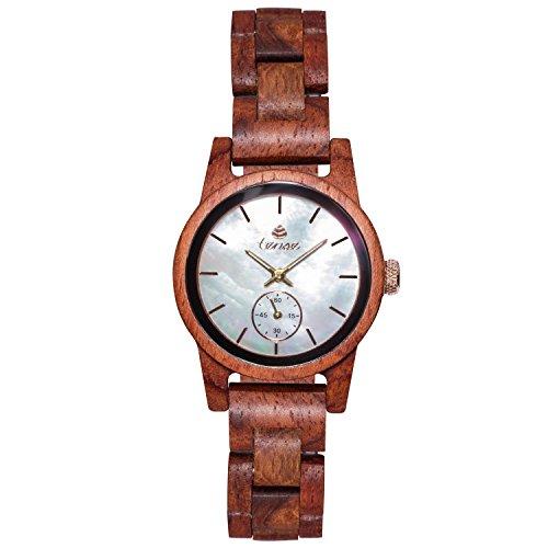 TENSE Holzuhr Damen Katalox - Perlmutt Ø 35 mm Armbanduhr Hampton analog Quarz M4700R-MOP