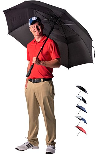 Athletico 68 Inch Automatic Open Golf Umbrella - Extra Large Double Canopy Umbrella is Windproof and Waterproof - Features Ergonomic Rubber Handle