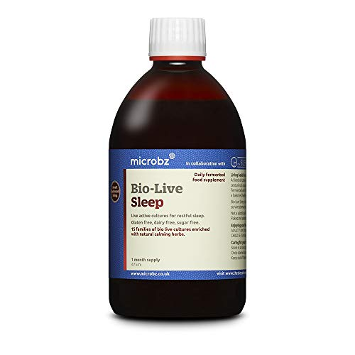 Microbz Bio-Live Sleep (475ml) - Probiotic Liquid Supplement Supporting Healthy Sleep - Multi Strain Fermented Liquid Formula with Bio Live Active Natural Cultures