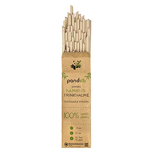 pandoo 50 cannucce usa e getta in bambù e fibra vegetale, senza plastica, cannucce biodegradabili, ottima alternativa alle cannucce in plastica, la cannuccia ecologica e sostenibile.