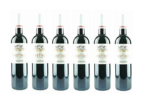 6x Boutari Kretikos Rotwein je 0,75L trocken griechischer Tafelwein Rot Wein im Spar Set + 2x Probiersachet Olivenöl