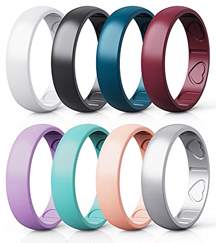 Qinaoco Silicone Rings for Women - Heart [I Love U] Pattern Airflow Inner Grooves Breathable Rubber Wedding Ring Silicone Wedding Bands for Women - 8 Rings / 4 Rings