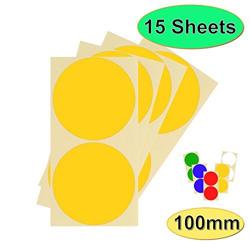 Paquete de 30 x 100 mm, 10 cm, redondos, autoadhesivos, fáciles de despegar para calendarios de codificación de colores, 12 colores, 15 hojas de puntos adhesivos de alta calidad, color amarillo