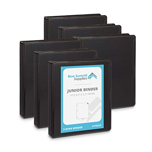 Blue Summit Supplies Mini 3-Ring Binder, Junior 1 Inch Mini Binder, Small 3-Ring Binder, Small Size Fits 5 1/2 x 8 1/2 Binder Paper, Set of Small Binders Ideal for Playbills or Planner, Black, 6 Pack