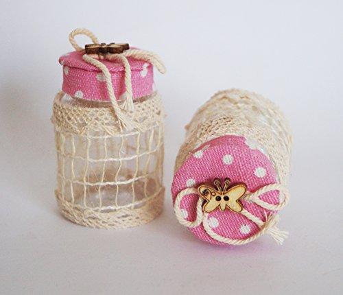 takestop® Set van 12 snoepjes bonnièreblik roze pois 4 x 6,5 cm kunststof net vlinders confetti bruiloft verjaardag