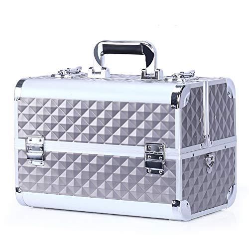 Trucco Beauty Case Beauty Case da Viaggio Organizer per Cosmetici Valigia Beauty Case Cofanetto Make Up Trolley Bagaglio A Mano,Argento