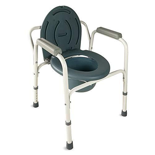 Mobiclinic, Arroyo, Toilettenstuhl, Toilettensitz für Ältere und Behinderte, WC Sitz, rutschfest, Deckel, gepolsterten Armlehnen, Chromstahl