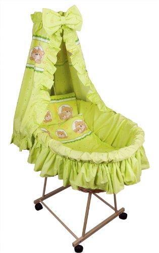 Amilian® 9tlg Textile Ausstattung für STUBENWAGEN Bollerwagen Himmel Matratze Baby Bettwäsche Bär im Kreis grün