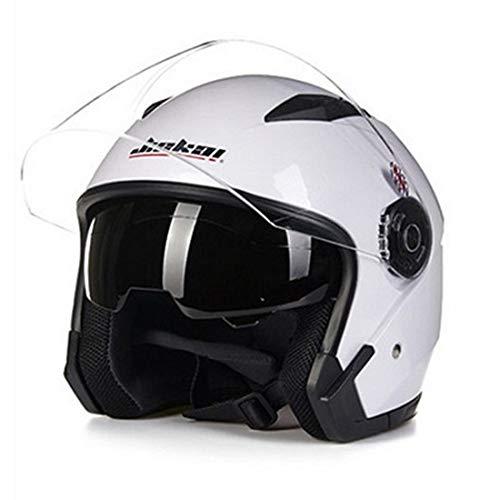 Dgtyui Casco moto doppio obiettivo universale 3/4 mezzo casco auto casco elettrico quattro stagioni protezione solare e protezione UV - Bianco XL