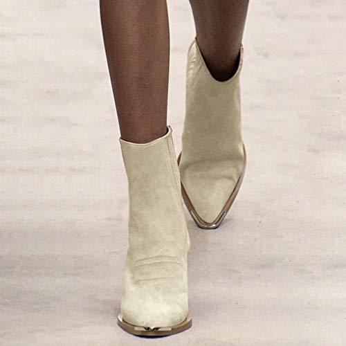 95sCloud Damen High Heels Boots Cowgirl Cowboy Stiefel Westernstiefel mit spitzem Zehenbereich Blockabsatz Western Frauen Stiefel Winterstiefel Women Stiefeletten Winterboots Schuhe (Weiß, 38)