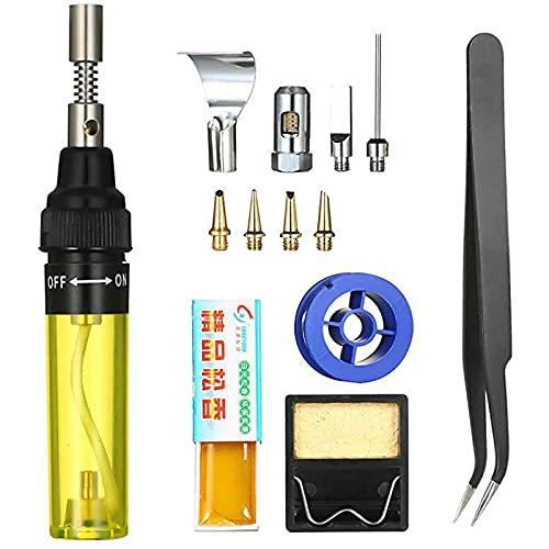 Kit de soldador de gas inalámbrico, control de temperatura inteligente (210-450 °C), con pinzas para soldar, para entusiastas del laboratorio escolar (amarillo)
