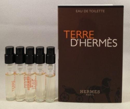 5 Hermes Terre D'hermes EDT Spray Vial Sample .06 Oz/2 Ml Each Lot