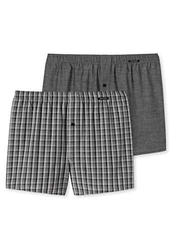 Schiesser Herren Boxershorts Web (2er Pack), Schwarz (Grey 000), XXL