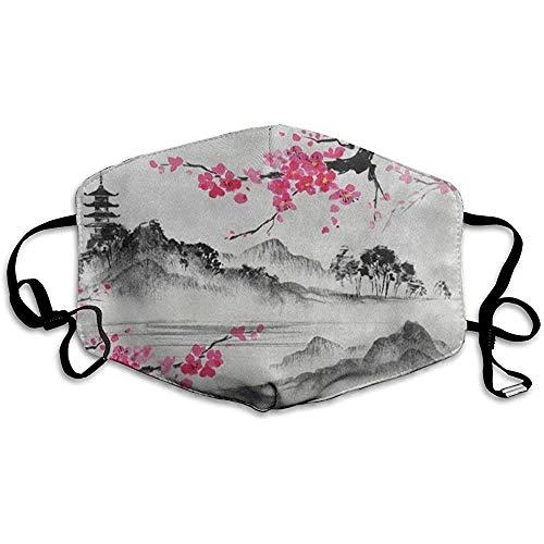 Mundmaske Japanisches Ölgemälde Kirschblüte Sakura Flower Face Mundschutz Winter Winddicht für Jungen Weihnachten