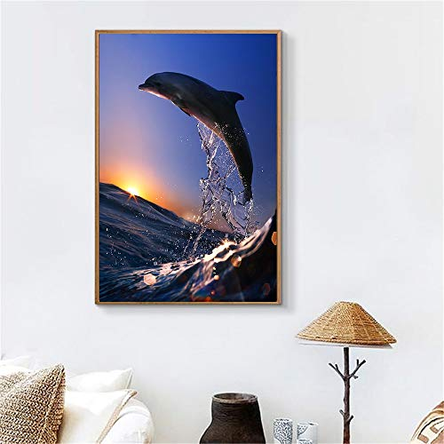 KWzEQ Leinwanddrucke Delphinplakat und Wohnraum Wohnkultur50x75cmRahmenlose Malerei