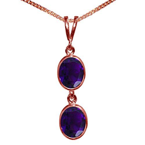 BJC® 9ct oro rosa Natural amatista doble Drop Oval Colgante Solitario 3.00ct...