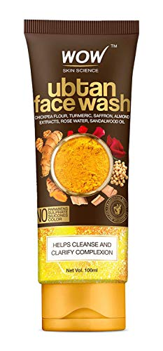 WOW Skin Science Ubtan Face Wash with Chickpea Flour, Turmeric, Saffron, Almond Extract, Rose Water & Sandalwood Oil – No Sulphate, Parabens, Silicones & Color (100mL)