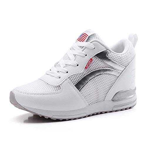 Dames Casual Schoenen, Onzichtbare Toename Comfort Sneakers Lichte Zolen Wandelen Gym Schoenen 35 Kleur: wit