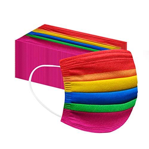 50 Stück Mundschutz Kinder Niedlichen Kinder Einschulung Cartoon Bunt 3-lagig Tücher Mund Nasenschutz Bedeckung Multifunktionstuch Halstuch Schals für Jungen und Mädchen (Regenbogen)