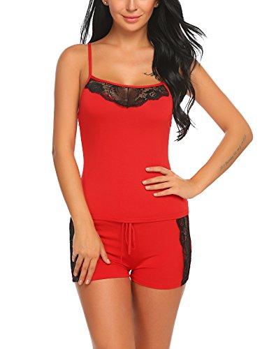 ADOME Damen Schlafanzug Nachthemd Sommer Kurz Pyjama Shorty Spitzen Nachtwäsche Negligee Set mit Verstellbaren Trägern, A-rot, S