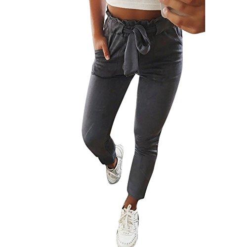 AmyGline Damen Hosen Paperbag Elastische Taillen Hose Casual Lange Hosen Sommerhose Sweatpants Freizeithose (Grau, XL)