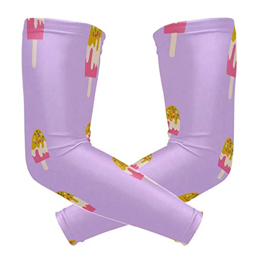 DKGFNK Sports Athletic Fruit Ice Cream Dessert Girl Print Compression Sleeves Arm Warmer Moisture Wicking Uv Protection for Youth Adult Outdoor Sunblock Protective Gloves Sleeves