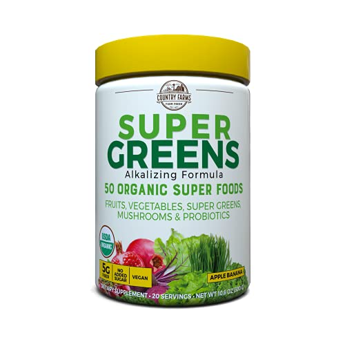 Country Farms Super Greens Banana Flavor, 50 Organic Super Foods, USDA Organic Drink Mix, 20 Servings, 10.6 Ounce