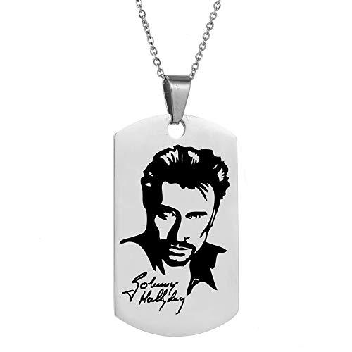 AFSTALR Johnny Hallyday Pendentif Collier Chaîne en Acier Inoxydable Bijoux Homme Cadeaux Souvenir Fan, Emballage de boîte Cadeau