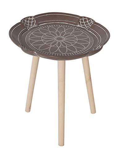 Petite Table géométrique/Table Basse/Table d'appoint Design, Table Ronde Simple et créative, Support en pin, Marron, Multi-Taille en Option