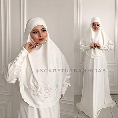 Amazon Com Muslim Wedding Dress With Khimar Bridal Hijab Hikkah Costume Islamic Wedding Clothing Handmade