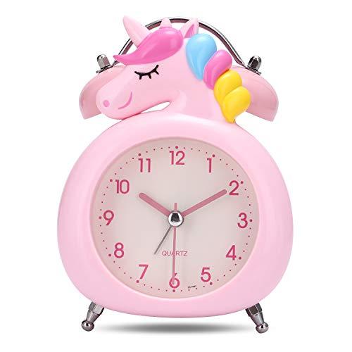 Lafocuse 10cm Despertador Infantil Unicornio Analógico con Doble Campana y Luz de Noche Reloj de Mesa Silencioso Gracioso Rosado