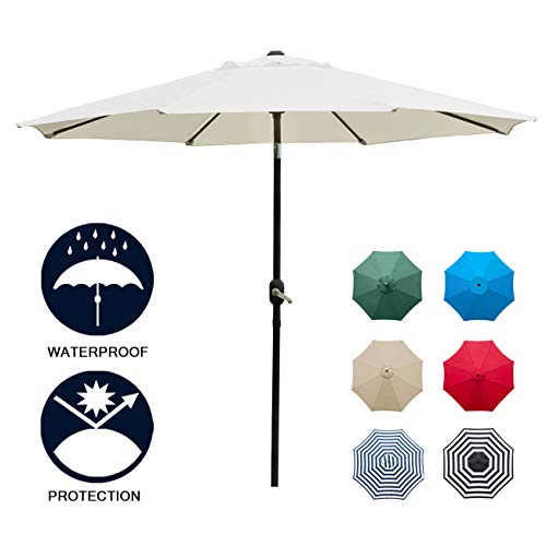 Sunnyglade 9' Patio Umbrella Outdoor Table Umbrella with 8 Sturdy Ribs (Beige)