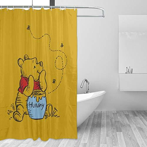 HOHOHAHE Winnie Pooh Bär Duschvorhang wasserdicht & lustig Badezimmer Dekoration 60 x 72 in 12er-Pack Kunststoffhaken