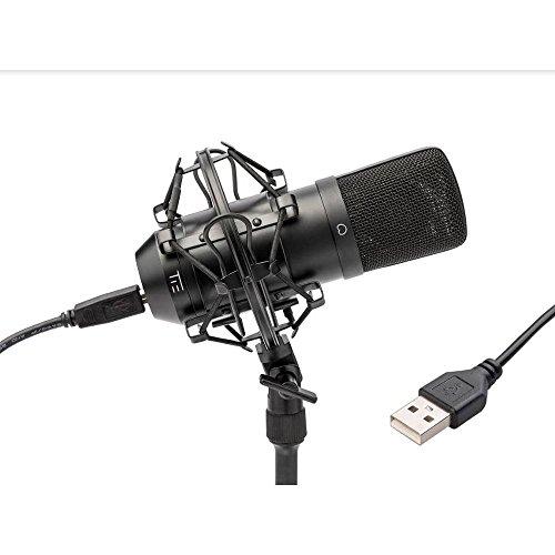 TIE Studio USB Großmembran Kondensatormikrofon Studioqualität geeignet für Livestream, Podcast, Youtube, Twitch & Home-Recording (inkl. Spinne und USB-Kabel) schwarz