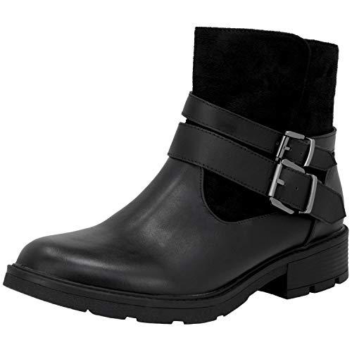 Fitters Footwear That Fits Damen Stiefelette Laia PU Bikerstiefelette mit Reißverschluss Übergröße (45 EU, schwarz)