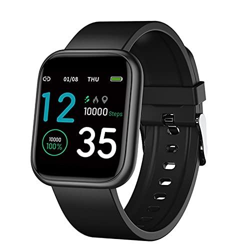 Generic X21 - Reloj inteligente de 1,3 pulgadas, recordatorio de llamadas y mensajes, seguimiento de la presión arterial, monitor de actividad física IP67, color negro