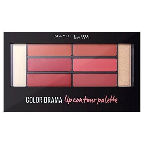 Maybelline Color Drama Lip Contour Palette, in Blushed Bombshell, vereint 1 Primer, 3 Linernuancen, 3 Lippenfarben und 1 Highlighter in einem Kit, mit Lippenpinsel, für ideal konturierte Lippen, 4 g