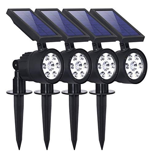 Westinghouse 2-in-1 Spotlight Landscape Wall Lights Outdoor, 200 Lumens Wall Lights Garden Lights Waterproof White 7 LEDs Solar Powered Spotlight for Patio Yard Pathway Porch Pool Garage (4 Pack)