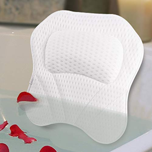 Bath Pillow Spa Bathtub Pillows 4D Mesh for Tub Cushion HeadNeckShoulder and Back Support Rest with 6 NonSlip Strong Suction Cups Home Bathing Relaxation
