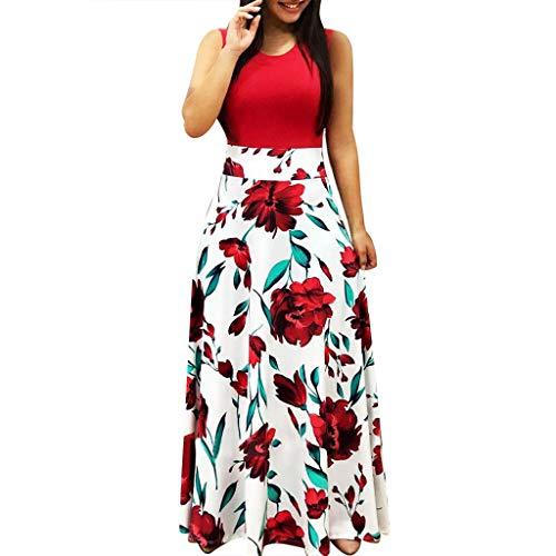Donna Vestito Lungo Abito da Cerimonia Elegante Vestiti da Matrimonio Lunghi Formale Banchetto Sera Maxi Dress Pizzo Moda Donna O-Collo Fiore Stampa Fold Easy Dress Club