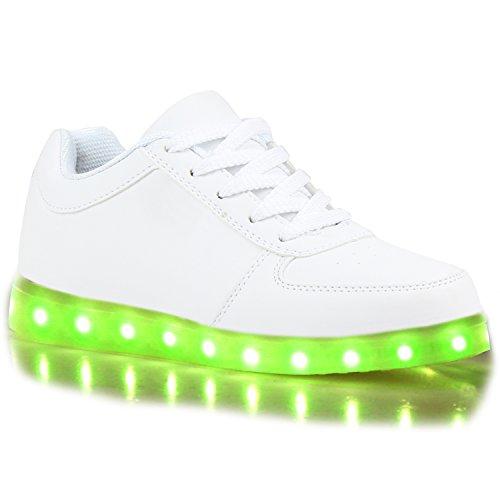 stiefelparadies - Blinkende Damen Herren Kinder Mädchen Jungen Sneakers High Low Led Light Farbwechsel LED Licht Schuhe 109162 Weiss 40 Flandell