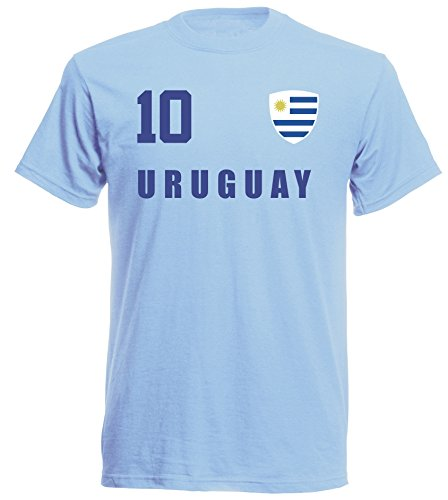 aprom - Uruguay Kinder T-Shirt Trikot ALL-10 Sky - WM 2018 Fußball (128)