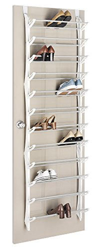 Whitmor Over-The-Door Shoe Rack White 36-Pair