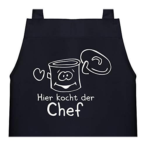 Shirtracer Kinderschürze mit Motiv - Hier kocht der Chef Kochtopf - 60 cm x 50 cm (H x B) - Schwarz - kochschürze kinder - X978 - Kochschürze und Schürze für Kinder