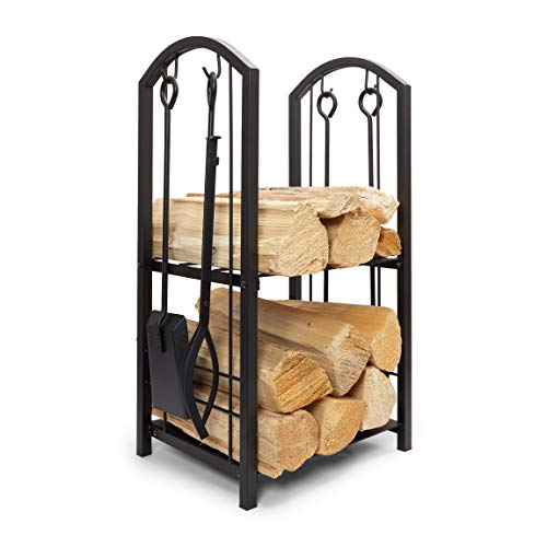 Firewood Rack with 4 Fireplace Tools Kit, Wood Log Holder for Indoor or Outdoor, Iron Set (15 x 29 x 13 in)