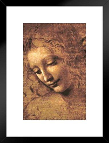 Poster Gießerei Leonardo da Vinci Kopf Eine Frau La Scapigliata Hohe Renaissance Kunstdruck 20x26 inches Matted Framed Poster