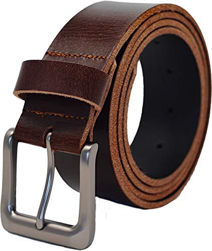 Ashford Ridge Cinturón de cuero real para hombre, 38 mm, entero, oculto, para pantalones vaqueros