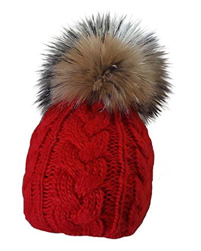 MERRYLAND Mütze Rot Echtfellbommel Pudelmütze ECHTFELL Bommelmütze Red Hat Real Fur Handmade Fellbommel Echt Fell Strickmütze Bommel Pelzbommel Waschbär Raccoon Pelz